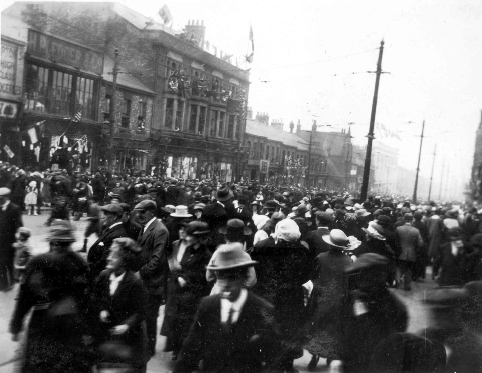 Herbert Pledger's shop seen here in 1923 on the occasion of the Prince of Wales visit (Taken by Heaton butcher, Edgar Couzens