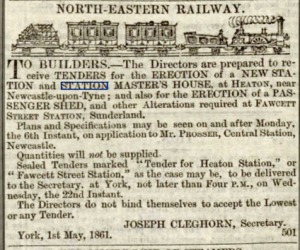 Advert for tendeer for new station and station-master's house