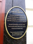 Plaque outside the High Main pub