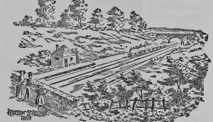 Drawing of the original Heaton Station, 1847