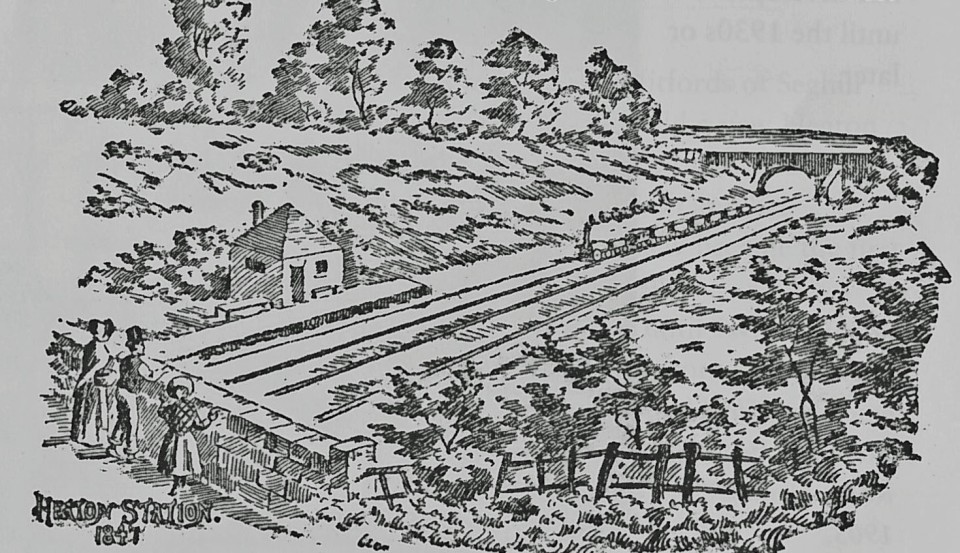 Drawing of the original Heaton Station, 1847