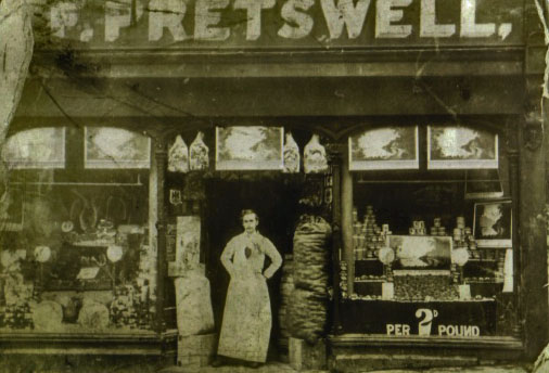 Edmund Forbes Pretswell senior's Byker Bank shop. possibly with Edmund hismself standing in the doorway.