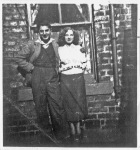 Maria and Frank Gazzilli's youngest daughter Theresa and youngest son, Franky, outside no 57.