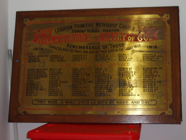 Leighton Methodist Church War Memorial