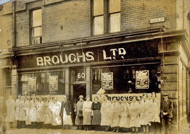 Staff outside Brough's 60 Heaton Road post 1923