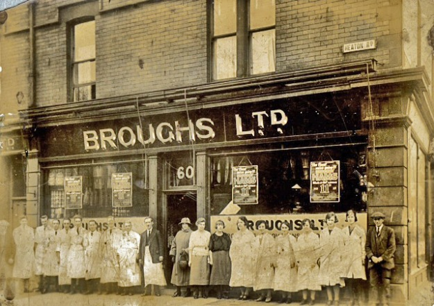 Staff outside Brough's 60 Heaton Road post 1923