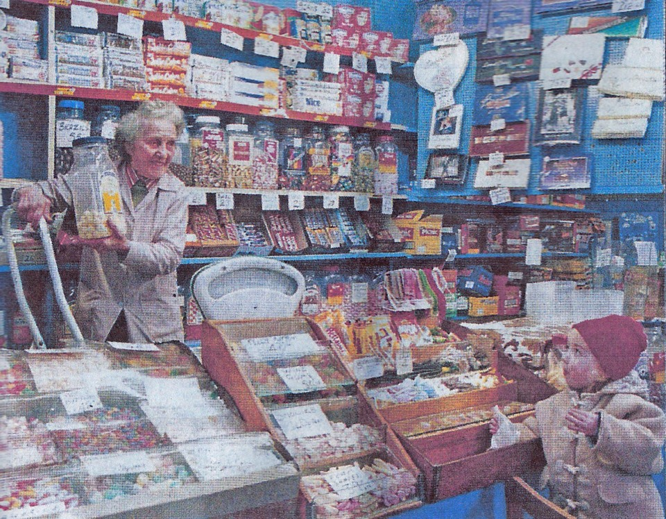 Mrs Clough in her sweetshop