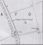 Detail from 1990 Ordnance Survey map showing cricket ground