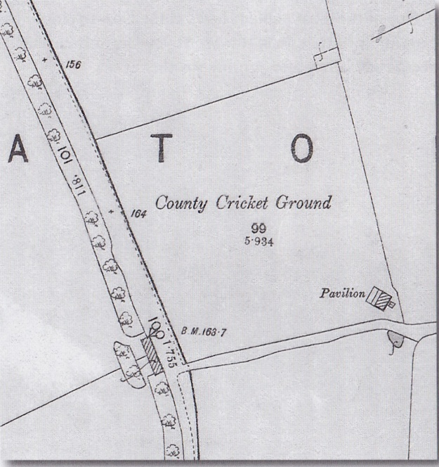 Detail from 1890 Ordnance Survey map showing cricket ground