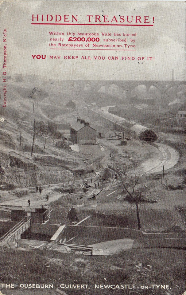 Ouseburn culvert being built, postcard with political message