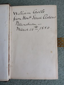 Inscription in William Castle's Bible