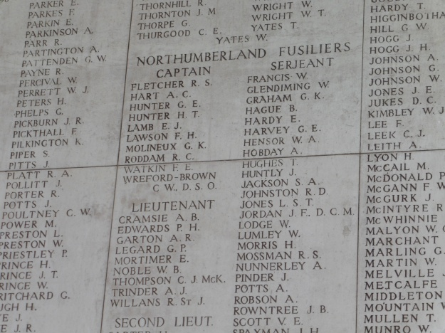 Will Lumley's name on the Menin Gate