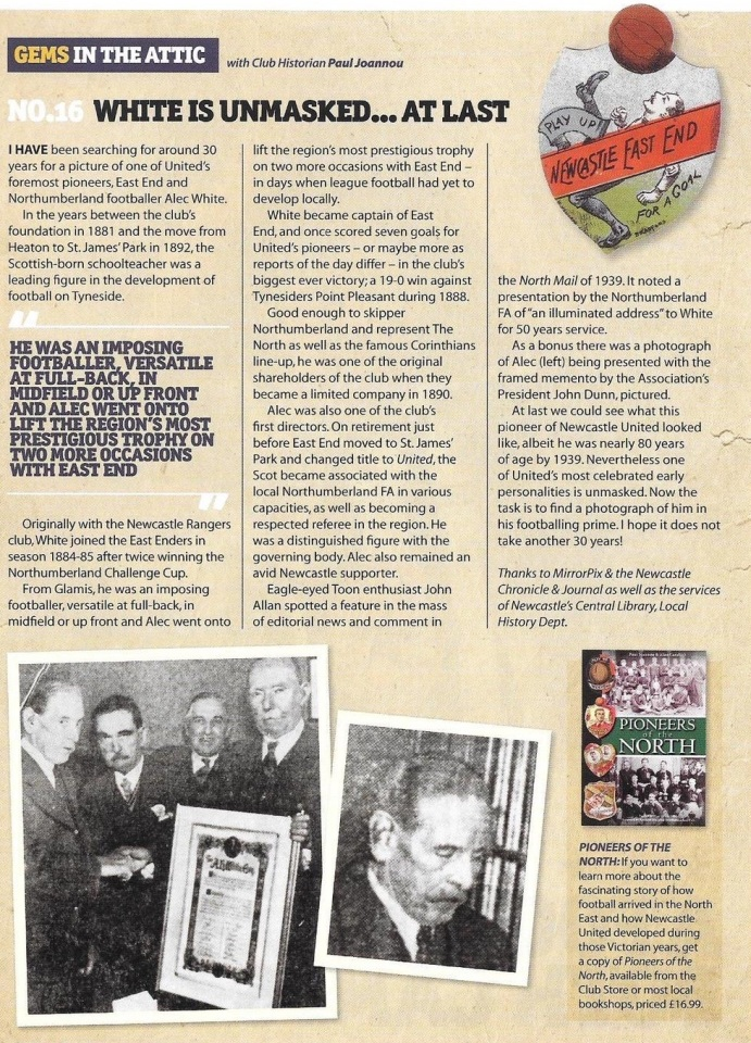 Article by Paul Joannou in the Newcastle United programme