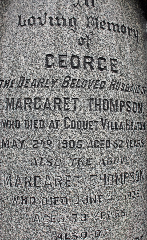 Inscription on Thompson family vault (detail)