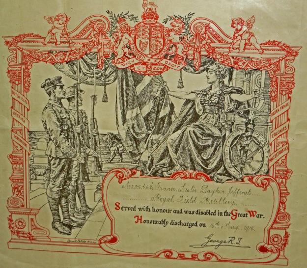 Leslie Jeffcoat's WW1 discharge certificate