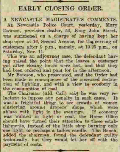 Article about Mary Dawson selling bread after 9.00pm