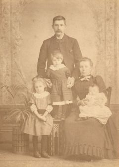 David and Isabella Wood with eldest children, Isabella, Helen & John, c1893