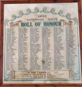 Heaton Presbyterian Church War Memorial where the contributions of Robert, John and Stanley Wood are commemorated.