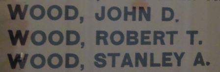 The Wood brothers' names on the Heaton Presbyterian Church war memorial