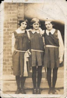 Olive (middle) & friends in Heaton High uniform, late 1920s