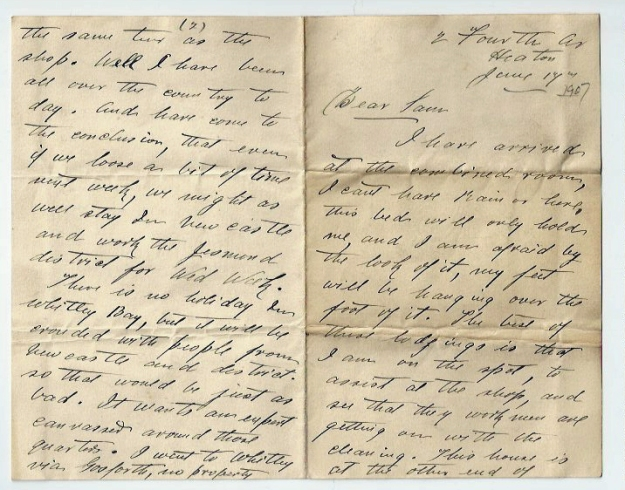 Extract from letter from Will Titterington Fourth Avenue, Heaton to Sam Smith 1917