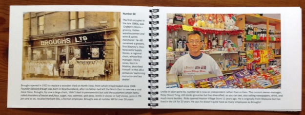 Sample spread from 'Heaton Road Shops: then and now'
