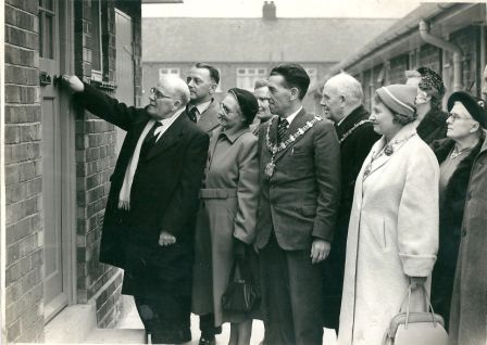 Frank Topping officially opening railway cottage in Topping Close, Hartlepool