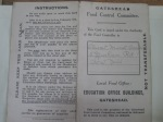 WW1 Ration Card