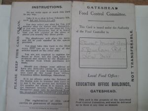 WW1 Ration Card