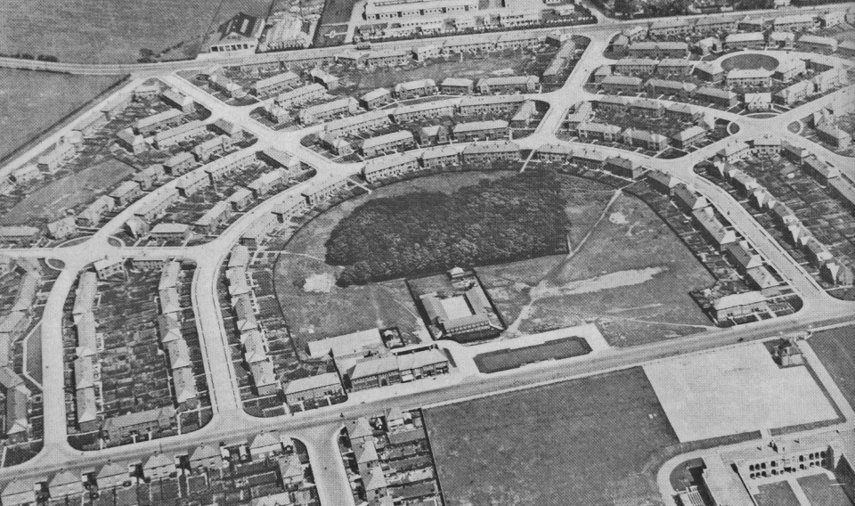 High Heaton in the early 1930s with the school in front of the trees of the Spinney