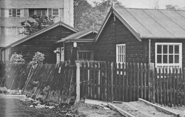 The wooden buildings which housed High Heaton Infants School and then, until 1966, the library