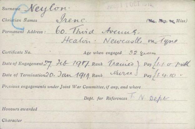 Irene Neylon's VAD record card