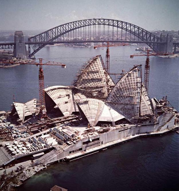 Sydney Opera House under construction - 5 shells erected